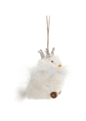 "4"" Bird with Crown Ornament"