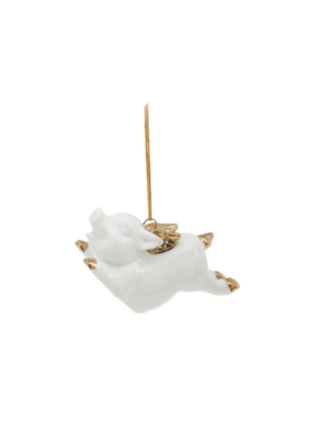 Pig Ornament in White & Gold