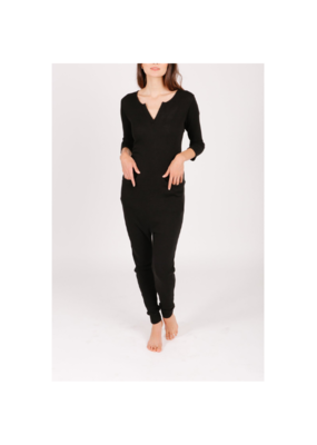 Smash + Tess Coffee Time Waffle Romper in Black by Smash + Tess
