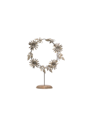 Metal Flower Wreath on Stand in Antique Silver