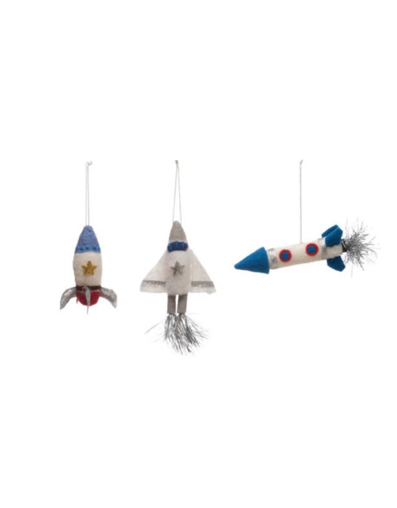 Wool Felt Rocket Ornament