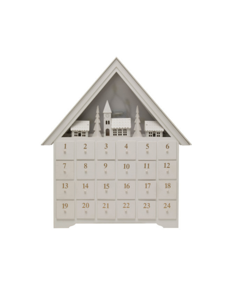 Wood House Advent Calendar with Boxes and LED