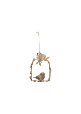 Metal Arch Ornament with Gold Bird