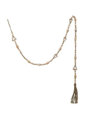 Paulownia Wood Bead Garland with Tassel in Natural