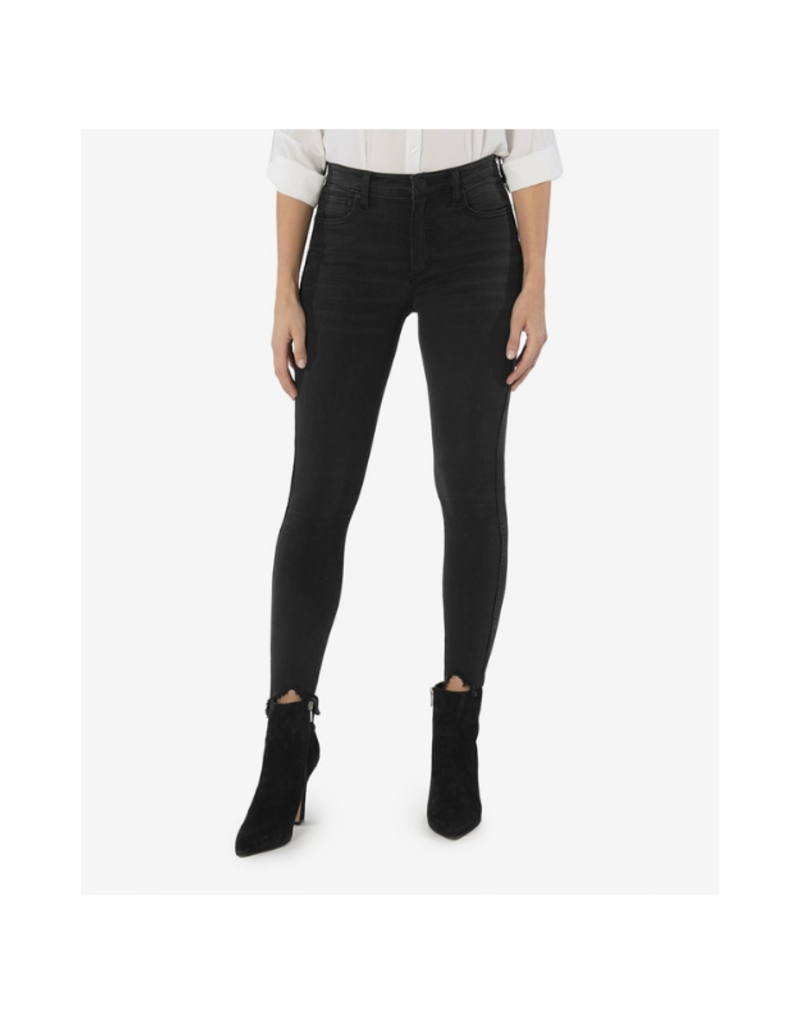 Kut from the Kloth Connie High Rise with Fab Ab & Uneven Hem in Black by Kut from the Kloth