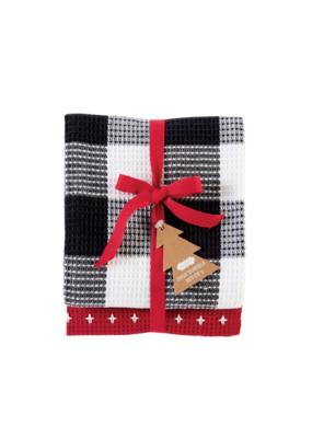 Buffalo Check Dish Towel Set in Red Stitching
