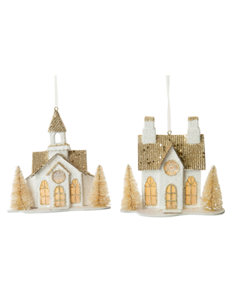 Assorted Paper House Ornament White & Gold with LED