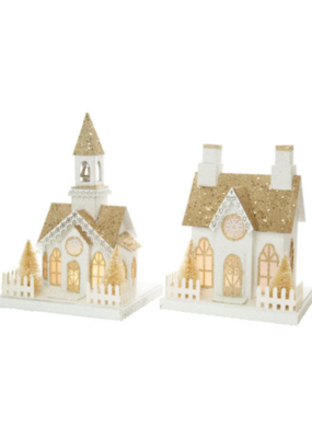 Assorted Paper House Tabletop Decor in White & Gold with LED