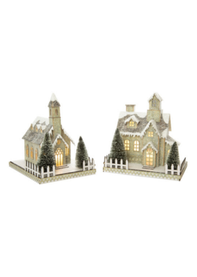 Assorted Paper House & Church Tabletop Decor in Grey Bark with White Glitter