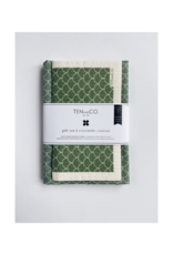 Ten & Co. Swedish Sponge Cloth & Towel Gift Set in Green Scallop