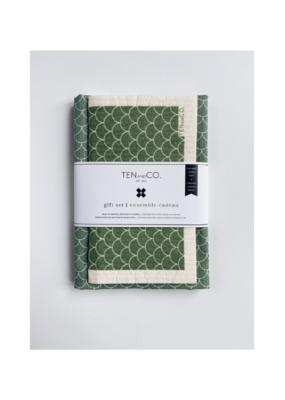 Ten & Co. Swedish Sponge Cloth & Towel Gift Set in Green Scallop
