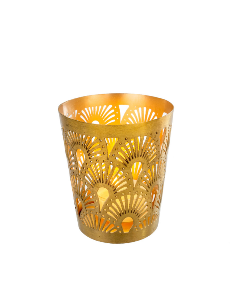 Plume Tealight in Matte Brass