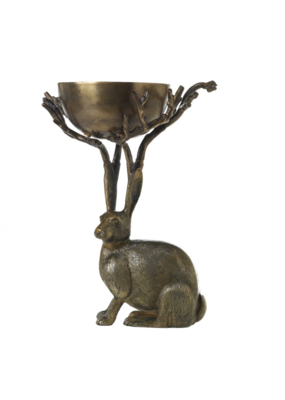 Hofland Brass-Finish Rabbit Branch Bowl
