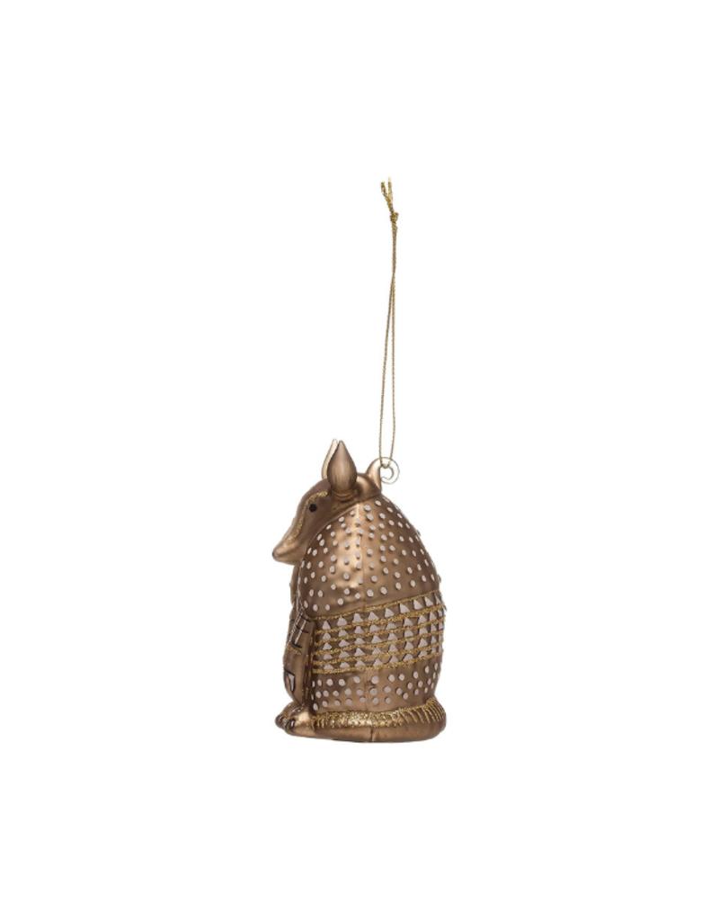 Holiday Armadillo Gold Glass Ornament