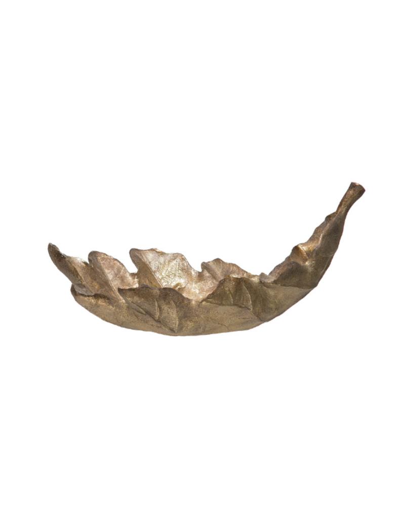 Antique Gold Finish Leaf Bowl
