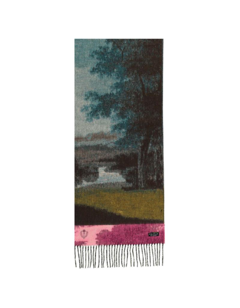 Serene Landscape Cashmink Scarf Petrol by Fraas