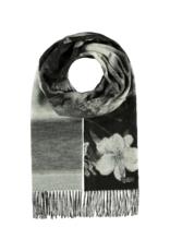 Garden Floral Cashmink Scarf Black & White by Fraas
