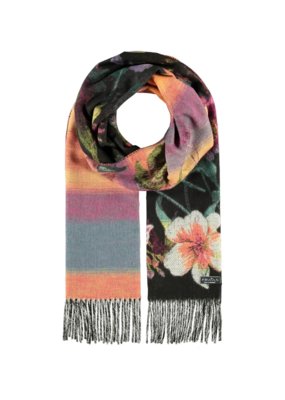 Garden Floral Cashmink Scarf Black and Colourful by Fraas