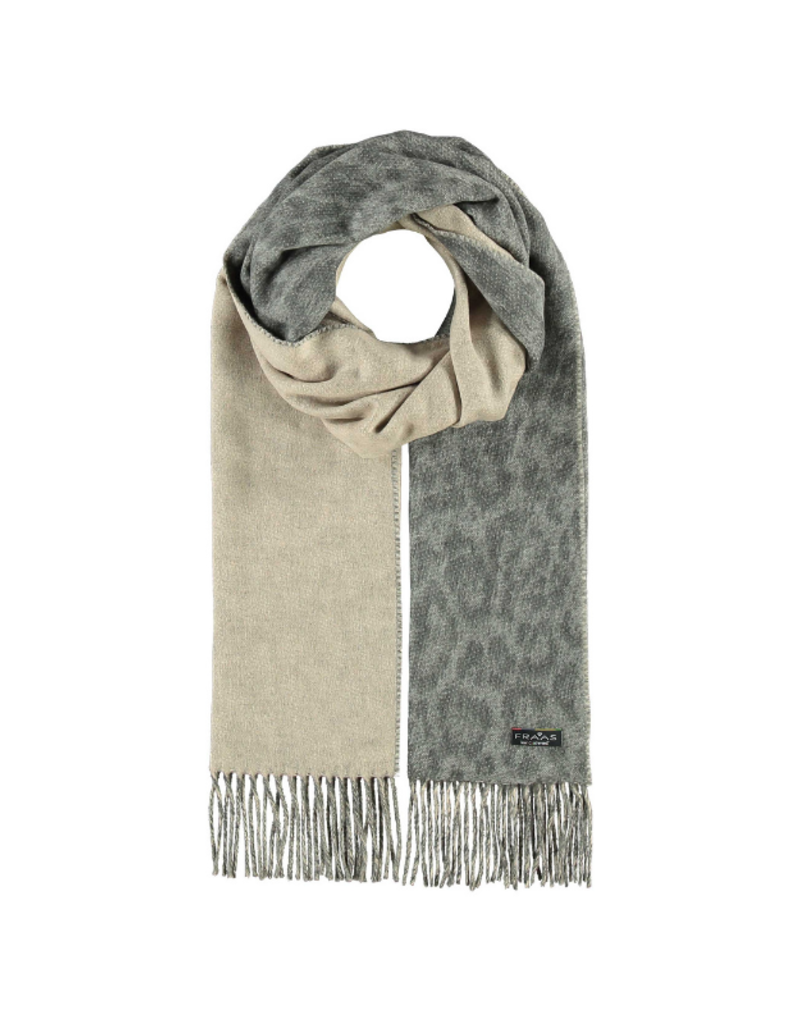 Two Tone Leo Cashmink Scarf Grey by Fraas