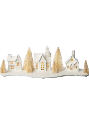 Glittered Paper Village Scene with LED