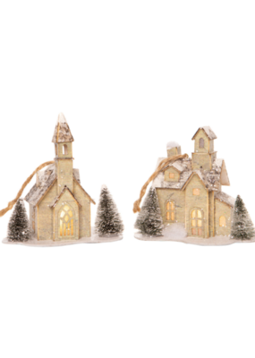 Printed Paper House Ornament with Tree in 2 Assorted Styles