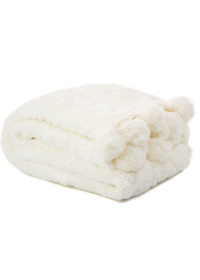 White Chenille Throw with Pom Poms