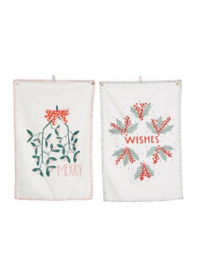 Cotton Tea Towel with Embroidery