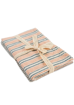 Indaba Trading Set of 2 French Linen Tea Towels in Pink