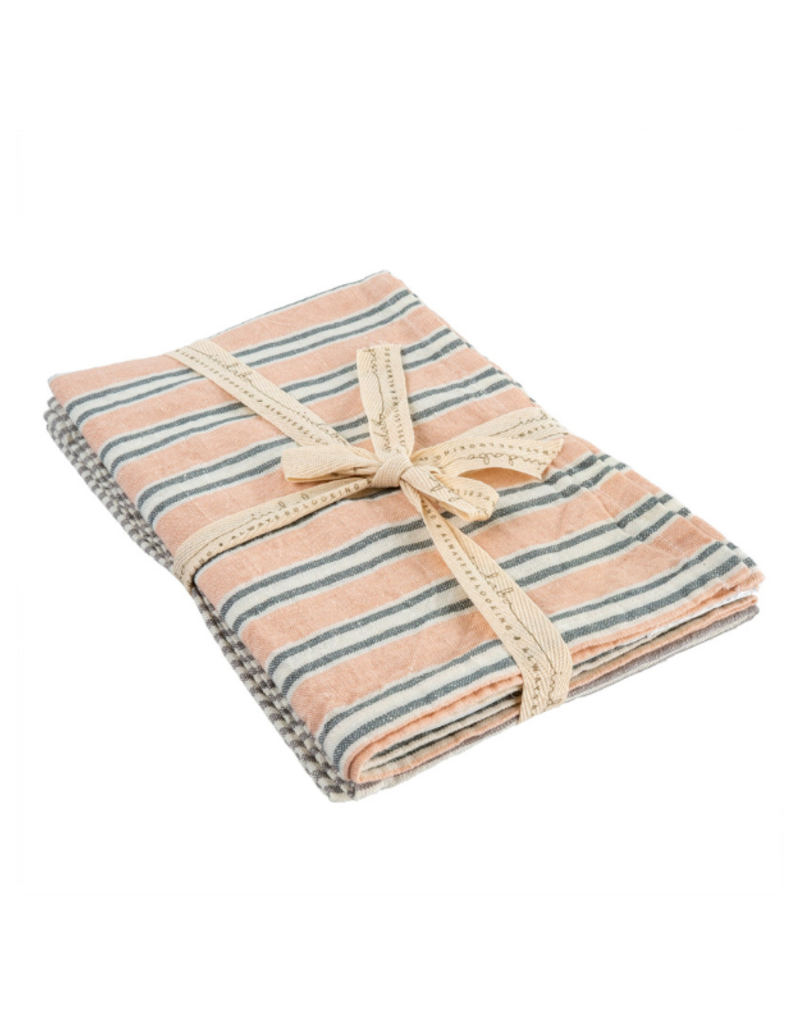 Set of 2 French Linen Tea Towels in Pink