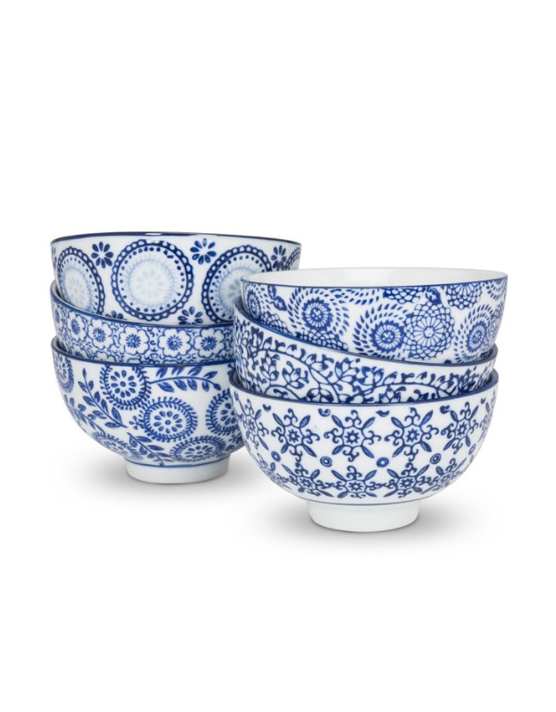 """4"""" Blue and White Assorted Rice Bowl"""