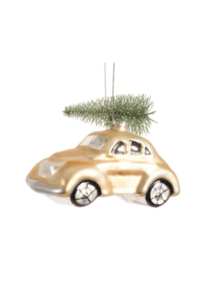Gold Car with Tree Ornament