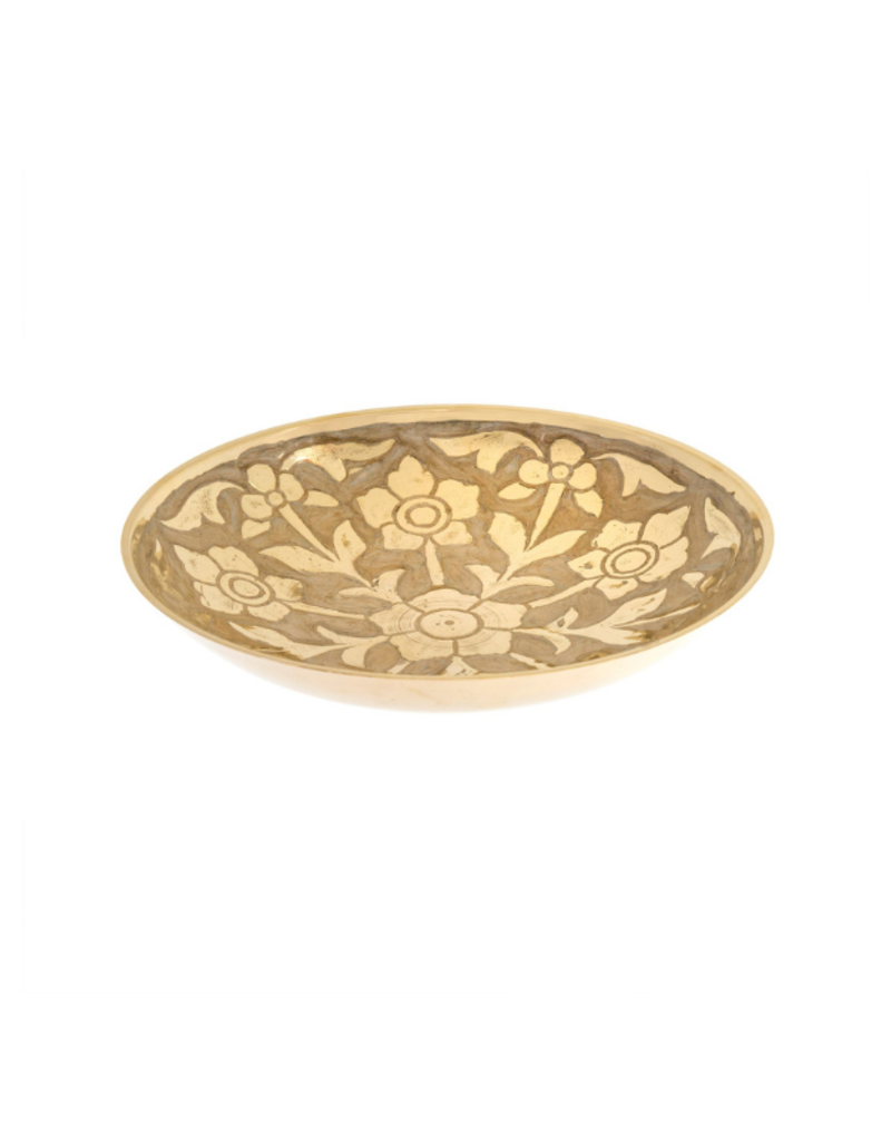 Large Primrose Brass Decor Bowl