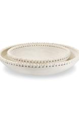 White-Washed Beaded Mango Wood Bowl
