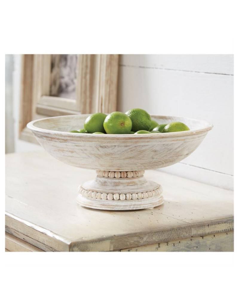 White-Washed Beaded Pedestal Serving Bowl