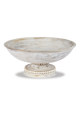 White-Washed Beaded Pedestal Serving Bowl