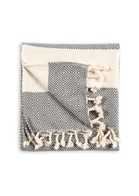 Pokoloko Diamond Turkish Hand Towel Slate