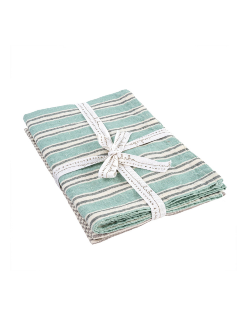 Set of 2 French Linen Tea Towels in Turquoise