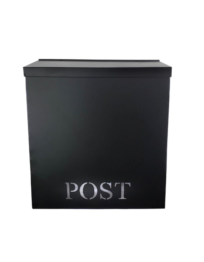 """POST"" Stanley Iron Mailbox in Black"