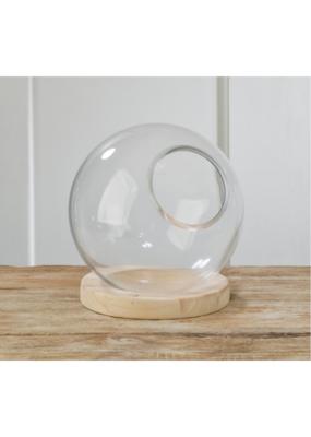 Glass Globe Terrarium Natural Wood