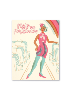 Flight To Funkytown Birthday Card