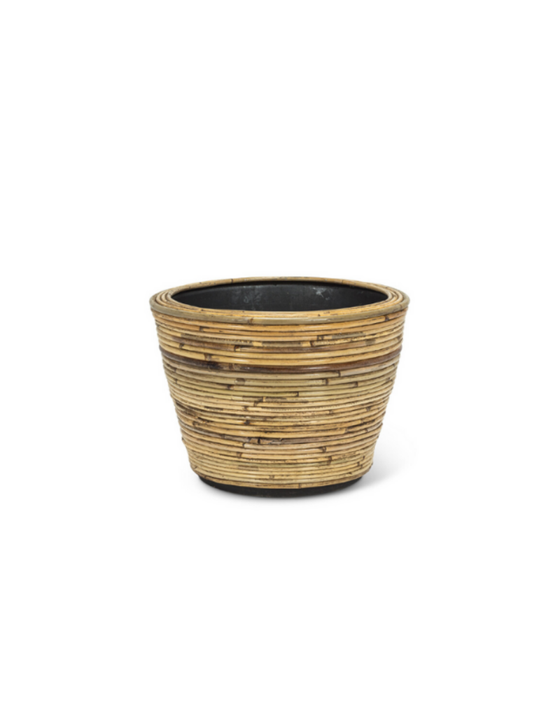 Striped Rattan and Resin Planter Small