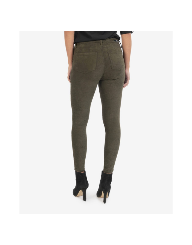 Kut from the Kloth Connie High Rise Ankle Skinny in Olive Suede by Kut from the Kloth