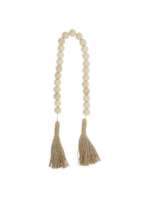 creative brands Natural Maple Wood Beads with Jute Tassel