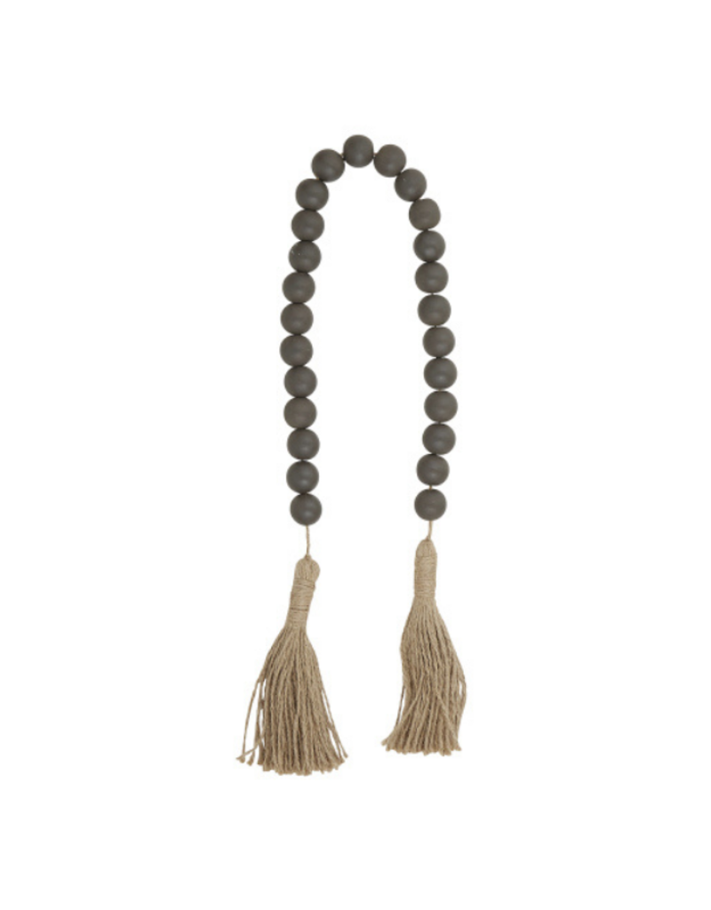 creative brands Charcoal Maple Wood Beads with Jute Tassel