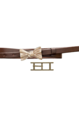 source apparel Chocolate Leather Skinny Belt with 2 Buckle Options