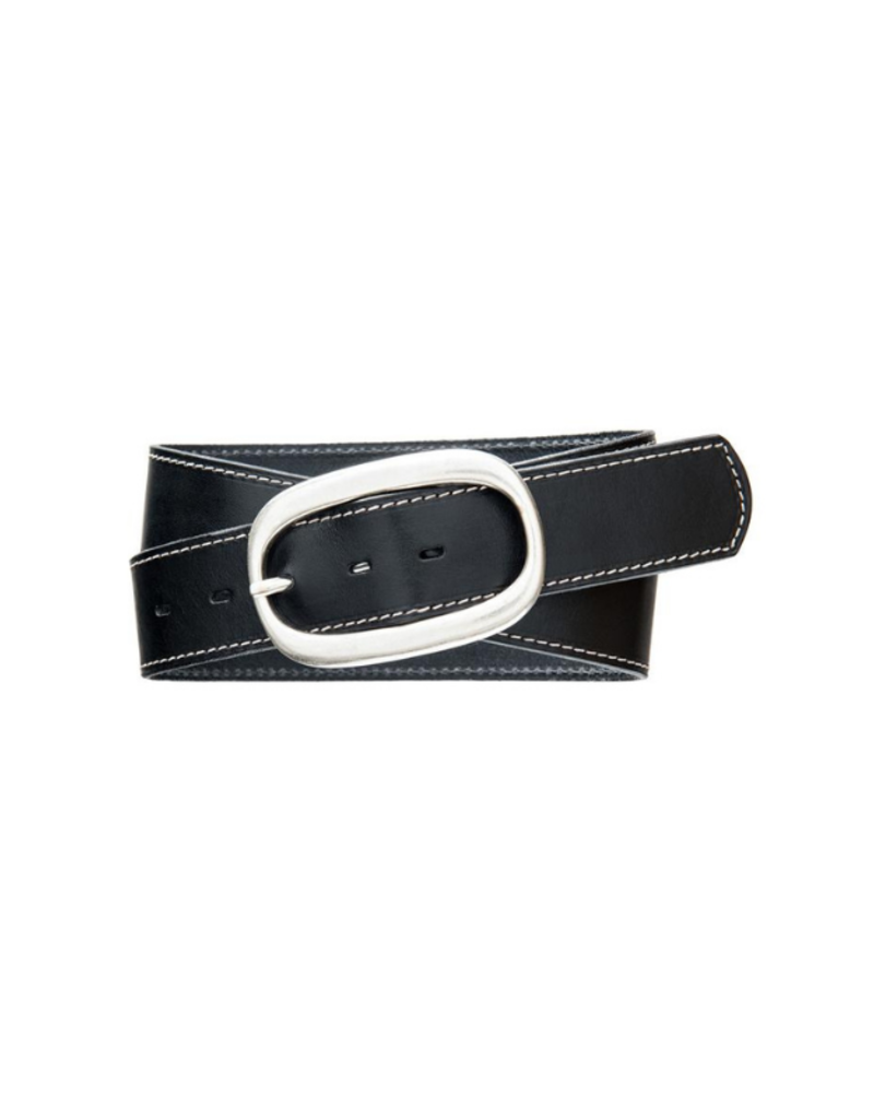 source apparel Classic Topstitch Leather Belt Black with Oval Buckle