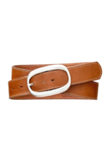 source apparel Classic Topstitch Leather Belt Cognac with Oval Buckle