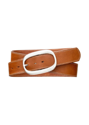 Classic Topstitch Leather Belt Cognac with Oval Buckle