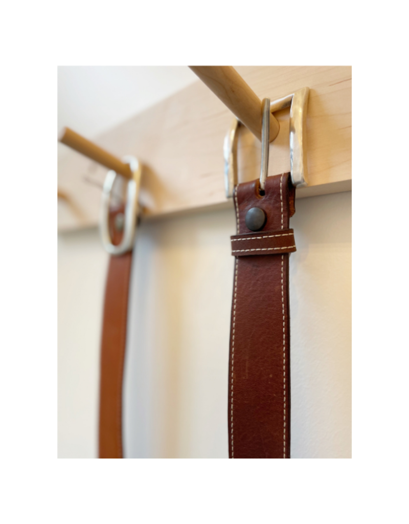 source apparel Classic Topstitch Leather Belt Chocolate with Square Buckle