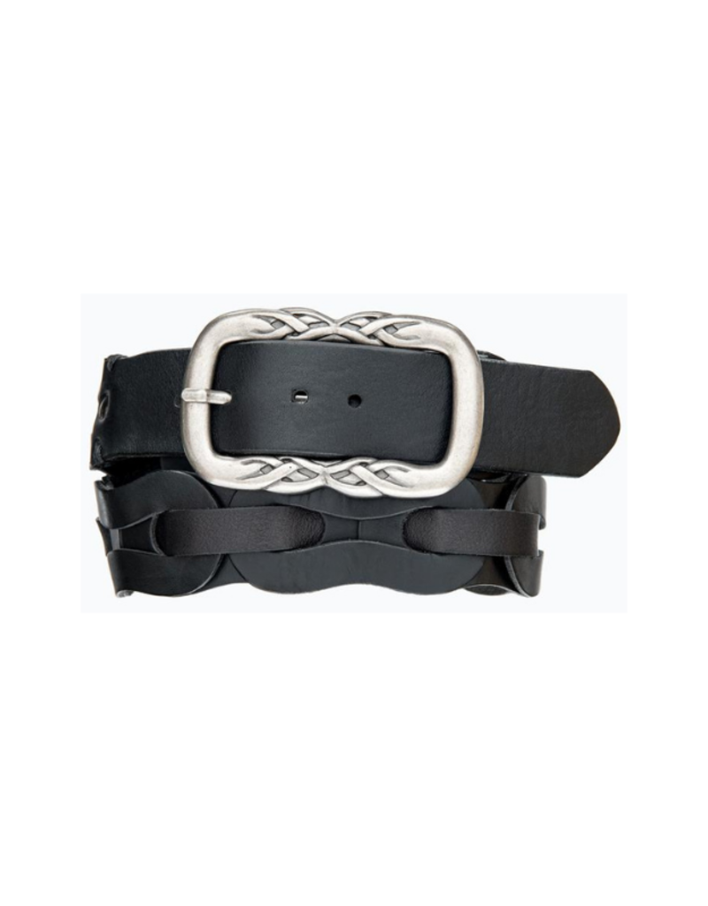 source apparel Woven Hip Leather Belt Black with Braid Buckle